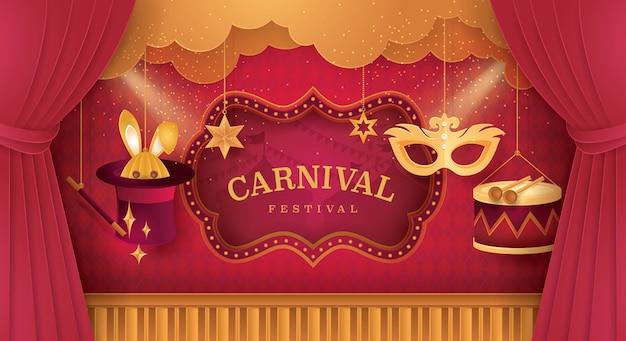 Cortinas premium de escenario con marco de circo feria de la diversión del festival. Vector Premium