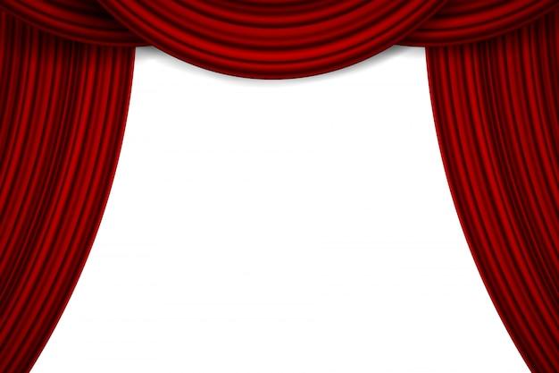 Cortinas de terciopelo de seda escarlata de lujo, cortinas de tela Vector Premium