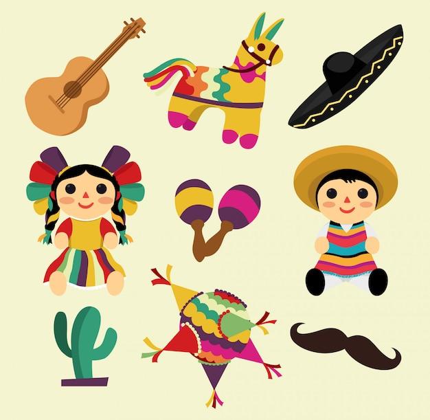 Cosas mexicanas, piñatas, sombreros, juguetes e instrumentos Vector Premium
