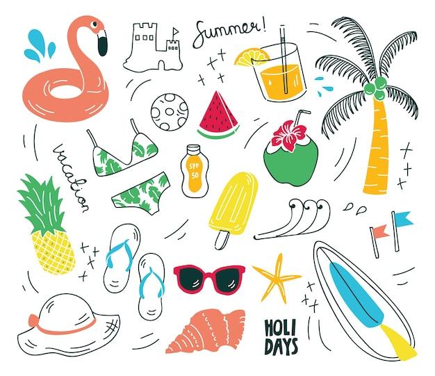 Cosas de la playa en la ilustración de vector de estilo doodle Vector Premium