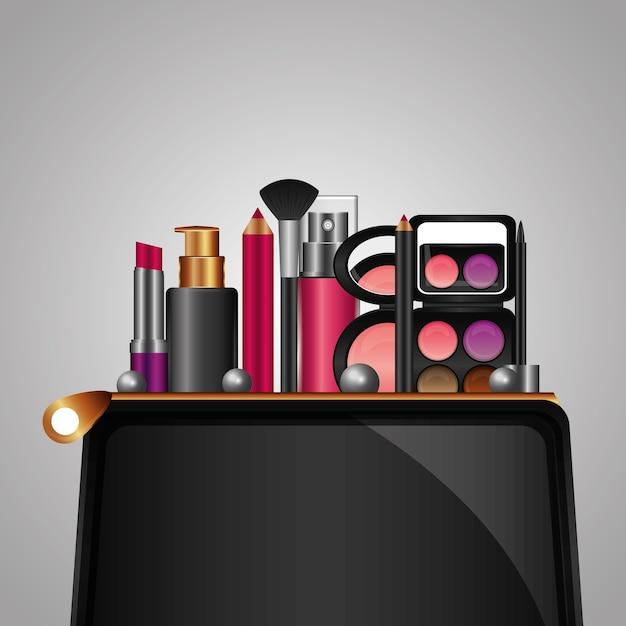 Cosmética maquillaje productos belleza moda conjunto Vector Premium