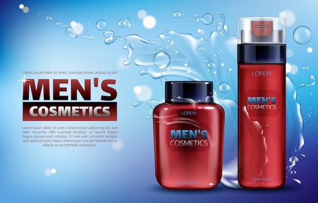 Cosmética masculina, espuma de afeitar y loción para después del afeitado. cartel de anuncios realistas en 3d. vector gratuito