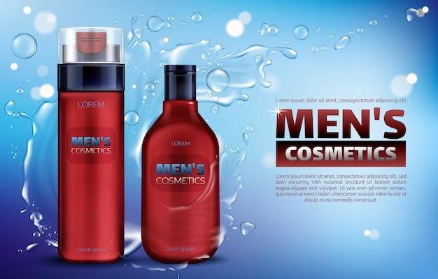 Cosmética masculina, gel de ducha, champú, espuma de afeitar, póster de anuncios realistas en 3d. vector gratuito