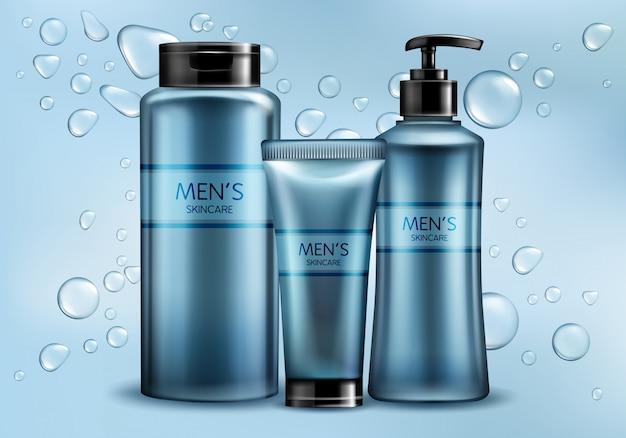 Los cosméticos para hombre del cuidado de la piel alinean la maqueta realista de la publicidad del vector 3d. vector gratuito