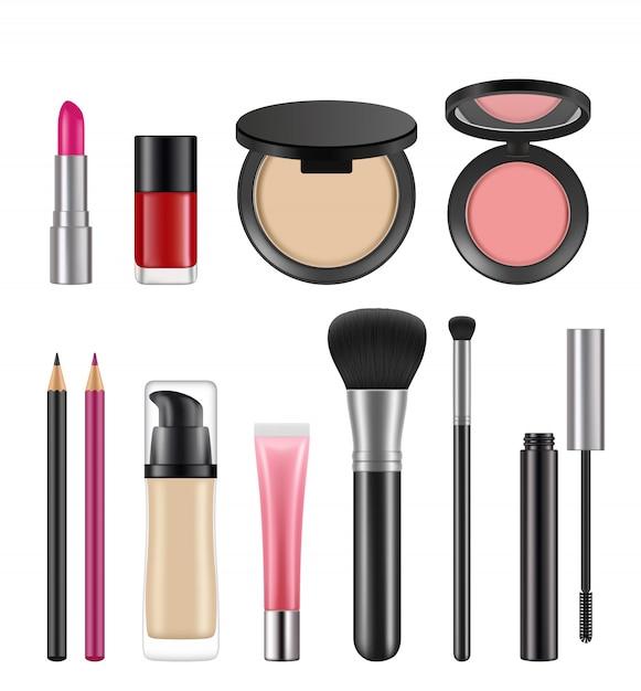 Cosméticos para mujeres. varios paquetes de cosméticos Vector Premium
