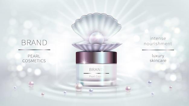 Cosméticos de perlas, diseño publicitario realista vector vector gratuito