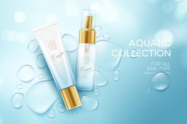 Cosméticos sobre un fondo con gotas de agua. plantilla de diseño de crema facial hidratante. Vector Premium