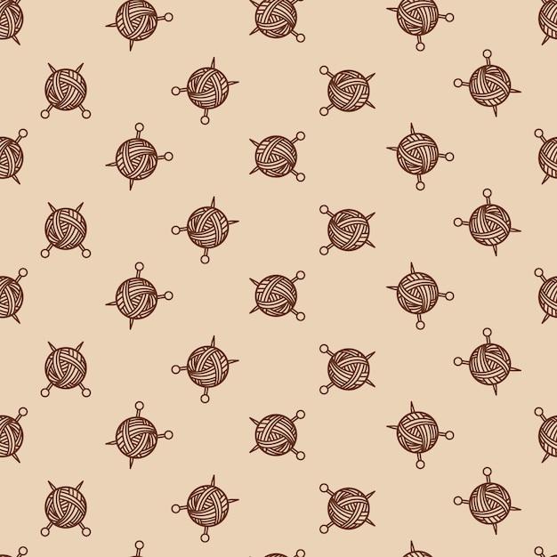 Costura de color beige sin patrón con enredo y radios. bola de hilo y agujas de coser ilustración vectorial Vector Premium