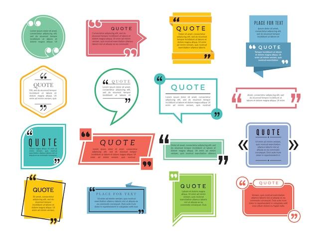 Cotizaciones de formas. cuadros de texto comentarios oraciones citas plantilla de marco de tipografía de vector Vector Premium