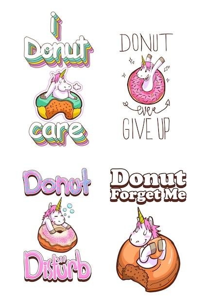 Cotizaciones lindas de unicornio y donuts | Descargar Vectores Premium