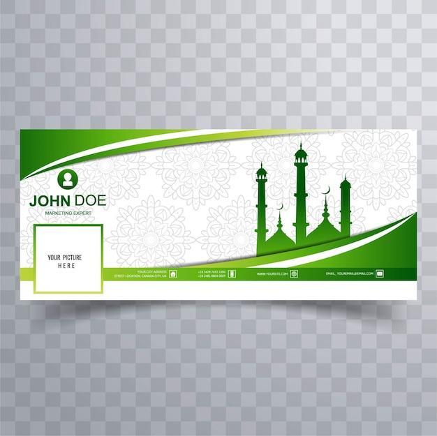 Cover de facebook verde con mezquita vector gratuito