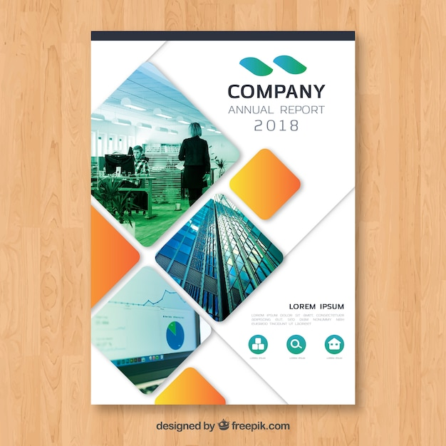 Cover de reporte anual con imagen vector gratuito