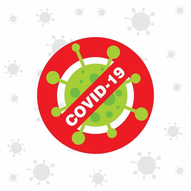 Covid 19 cartel con icono de virus vector gratuito