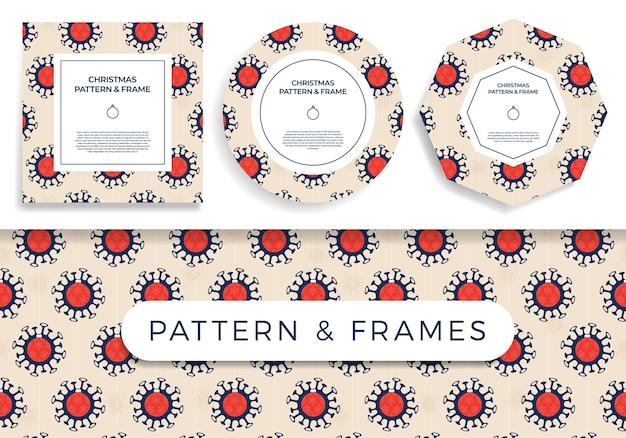 Covid de navidad de patrones sin fisuras y conjunto de marcos ilustración Vector Premium