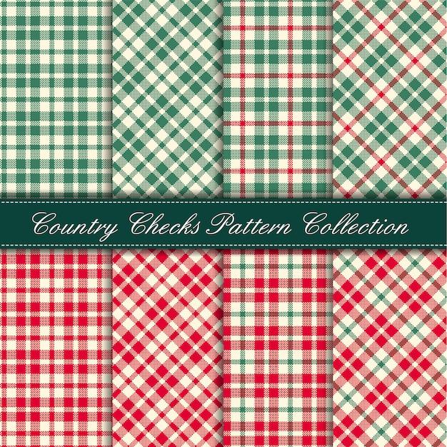 Cozy country gingham pattern collection rojo y verde Vector Premium