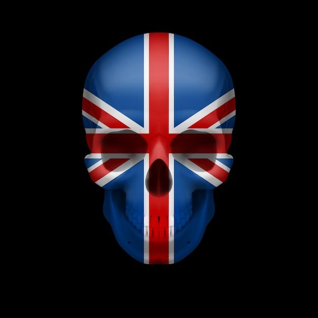 Cráneo de bandera británica Vector Premium