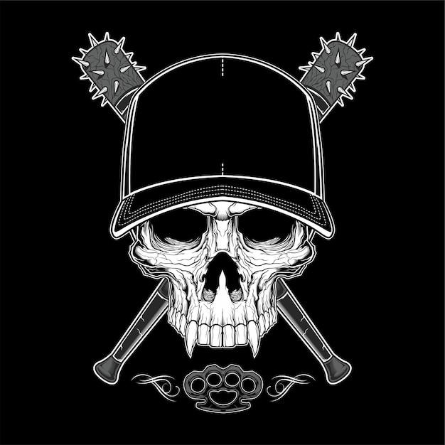 Cráneo de bandido vintage en gorra hipster y manos de esqueleto con ilustración aislada de bates de béisbol cruzados Vector Premium
