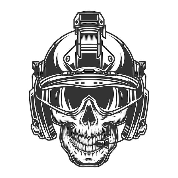 Cráneo en casco militar moderno vector gratuito