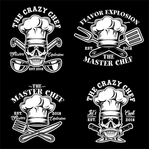 Cráneo chef sombrero logo vector set ilustración Vector Premium
