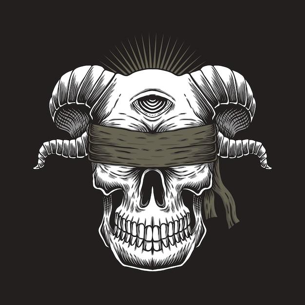 Cráneo ciego de un ojo Vector Premium