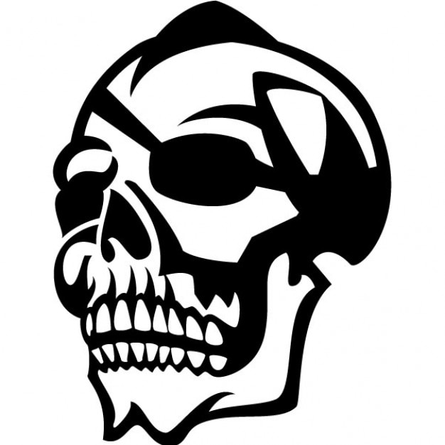 Cráneo con parche en el ojo ilustración vectorial   Descargar ...