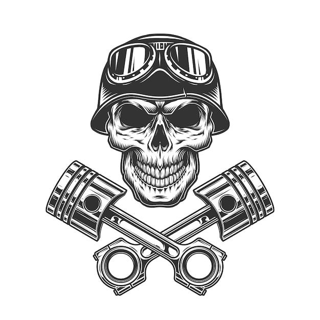 Cráneo de conductor de motocicleta monocromo vintage vector gratuito