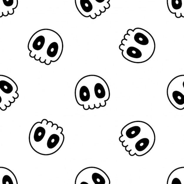 Cráneo crossbone de patrones sin fisuras halloween ilustración caricatura Vector Premium