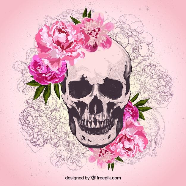 Cráneo Dibujado A Mano Con Flores Descargar Vectores Gratis