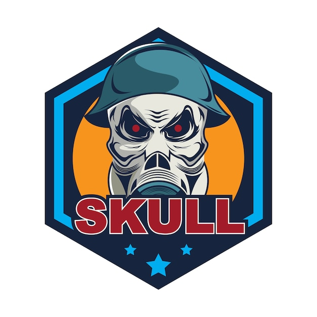 Cráneo en casco militar y máscara de gas plantilla de logotipo ...