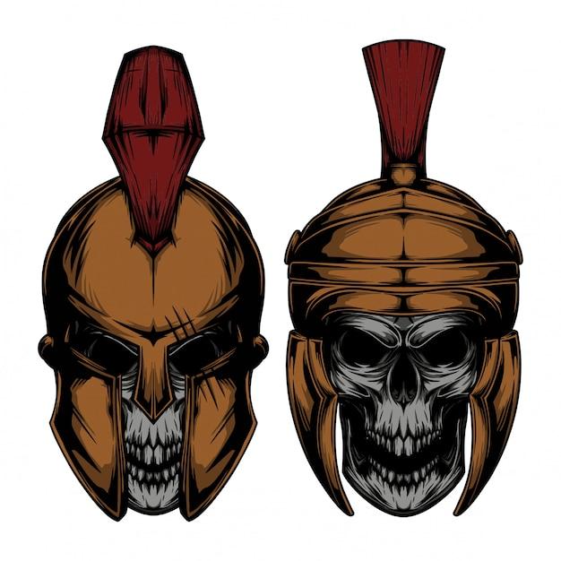 Cráneo espartano Vector Premium