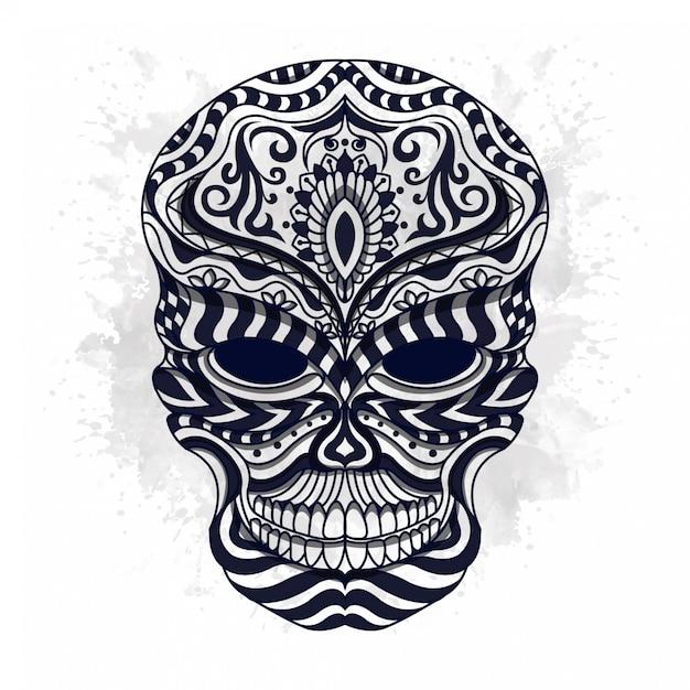 Cráneo estilizado blanco y negro en estilo étnico vector Vector Premium
