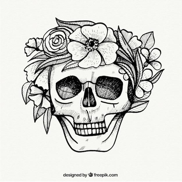Cráneo Con Flores En Estilo Dibujado A Mano Descargar Vectores Gratis