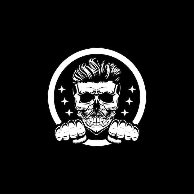 Cráneo guapo en la oscuridad Vector Premium