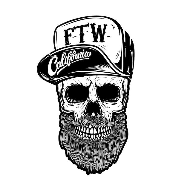 Cráneo de hipster en gorra de béisbol con letras california, forever two wheels. elemento de logotipo, etiqueta, emblema, signo. imagen Vector Premium