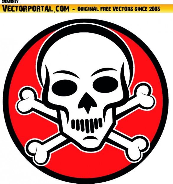 Cráneo con huesos cruzados en la espalda círculo rojo | Descargar ...