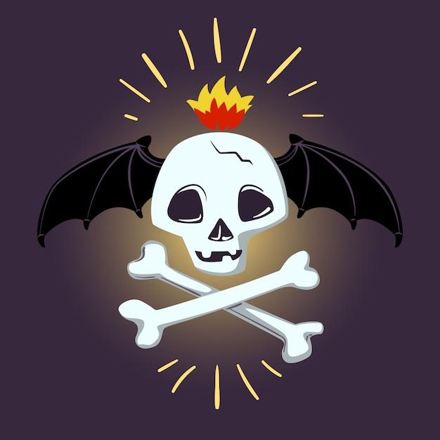 Cráneo y huesos de halloween. diseño vectorial para impresiones, camisetas, carteles de fiesta y pancartas. Vector Premium