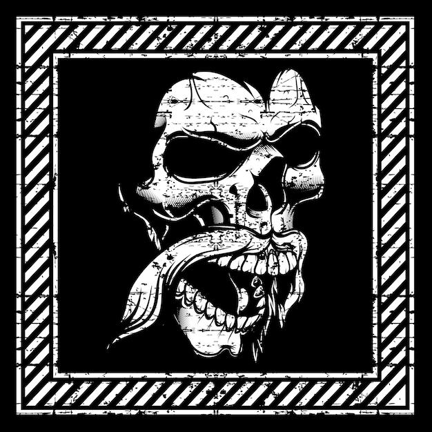 Cráneo de ilustración de estilo grunge, aislado Vector Premium