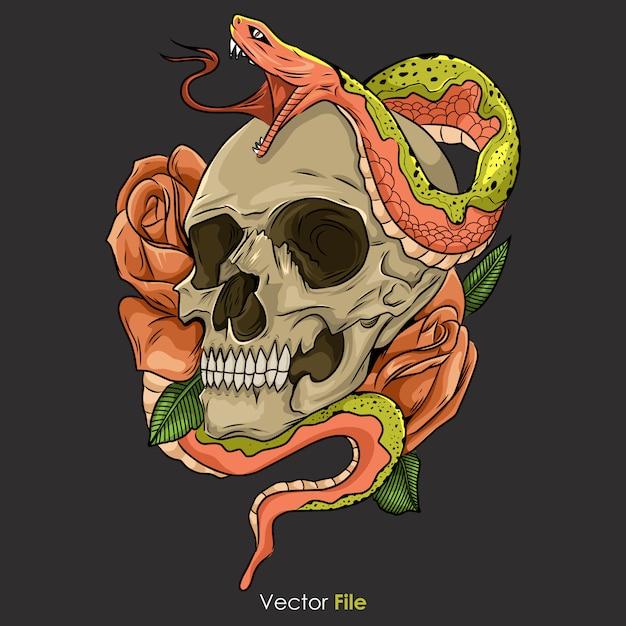 Cráneo con ilustración de serpiente Vector Premium