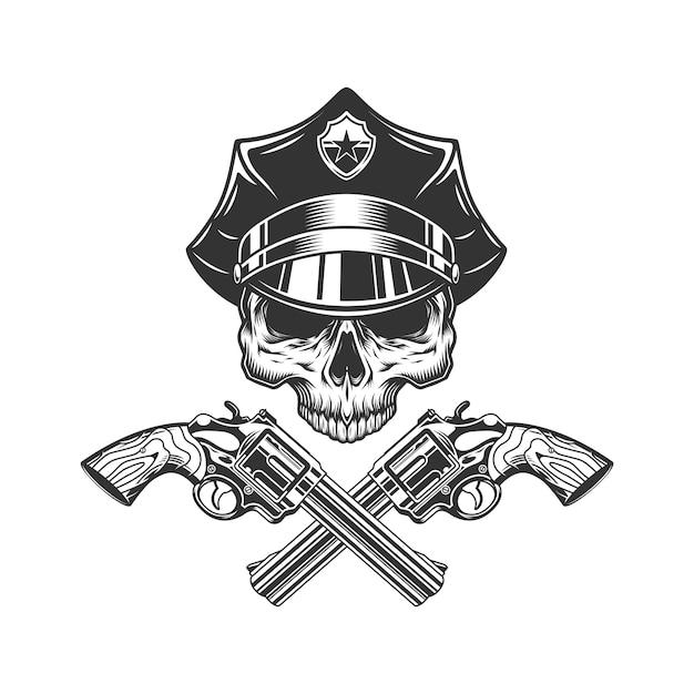 Cráneo sin mandíbula en sombrero de policía vector gratuito