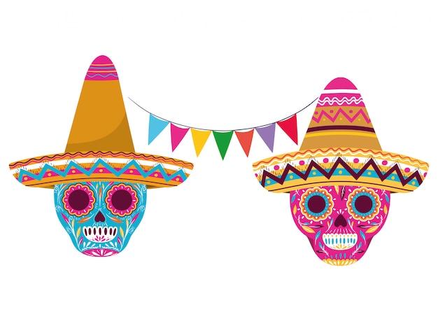 Cráneo mexicano con icono aislado sombrero Vector Premium