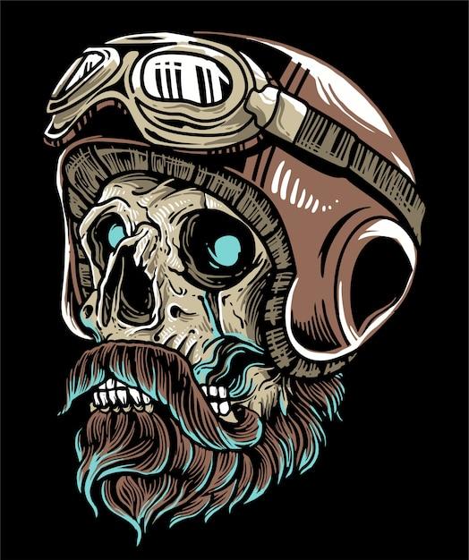 Cráneo de motociclista con casco y gafas con bigote de barba Vector Premium