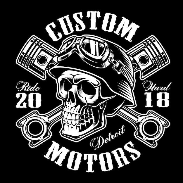Cráneo de motociclista con pistones cruzados. gráfico de la camisa. todos los elementos, colores, texto (curvos) están en la capa separada. (versión monocromo) Vector Premium