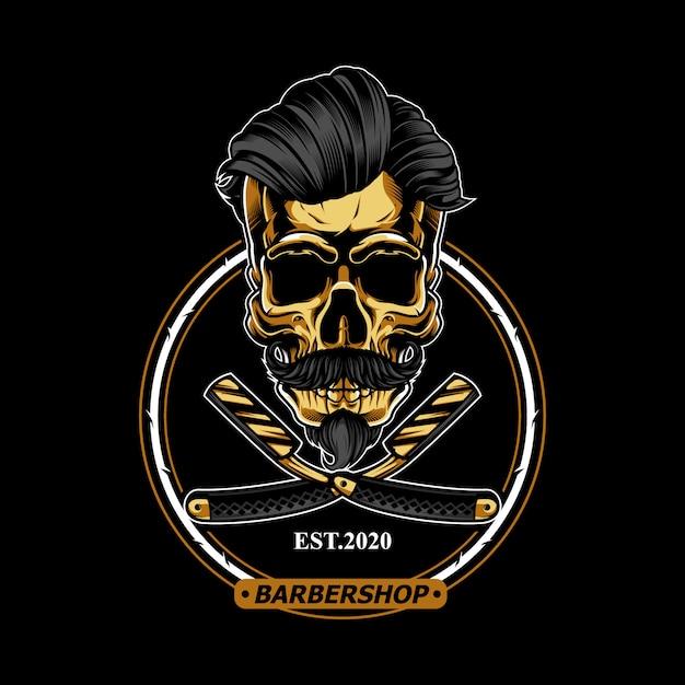 Cráneo de oro para el logotipo de la barbería Vector Premium