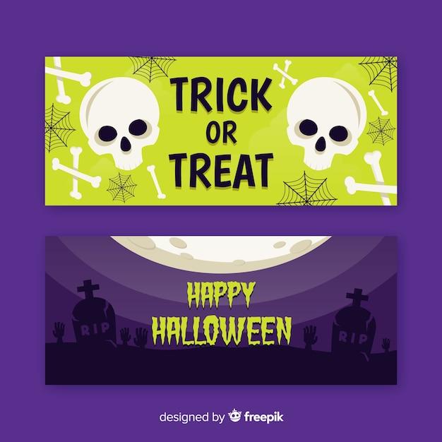 Cráneo y pancartas de halloween planas muertas vector gratuito