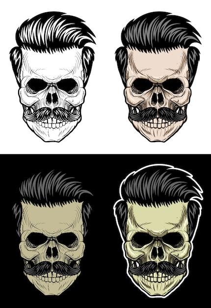 Cráneo Con Pelo Y Bigote Dibujo De Calavera Con 4 Colores De Estilo