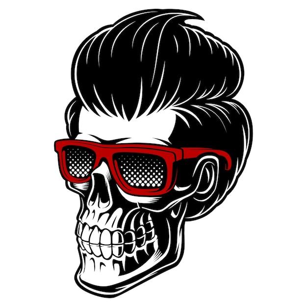 Cráneo de peluquero con gafas y cabello de moda. perfecto para logotipos, estampados solo para peluquería. sobre fondo blanco. Vector Premium