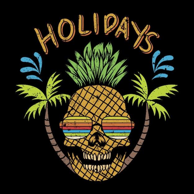 Cráneo pinapple vacaciones ilustración vectorial Vector Premium