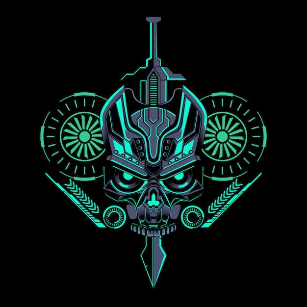 Cráneo robótico espada geométrica Vector Premium