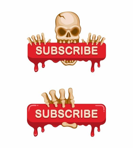 Cráneo con signo de sangre botón de suscripción canal de transmisión de video en la ilustración de dibujos animados Vector Premium