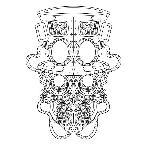 Cráneo steampunk ilustración estilo lineal Vector Premium